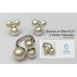 JUEGO PLATA 9.25 Y PERLAS NATURALES